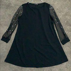 Black Dress with Sheer Pearl Sleeves